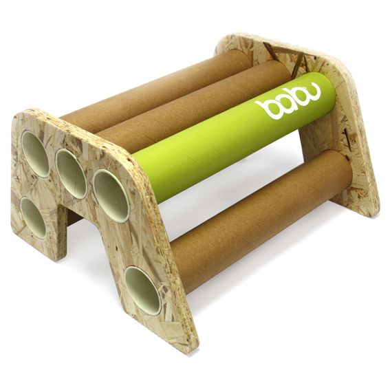 Tabit - babu™ bench for kids (from 18 months) • Material: OSB + cardboard tube • Handmade design from non conventional materials; each model is unique because of the detail in the finishing of each piece.