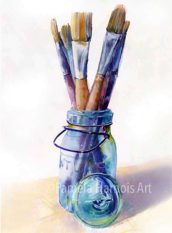 Mason Jar Watercolor Art Print Art Artist Brushes Blue Canning Jar