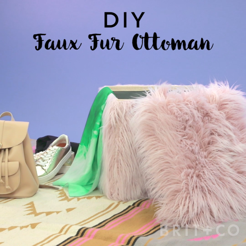 Decorate your home with a faux fur ottoman with this video DIY tutorial.