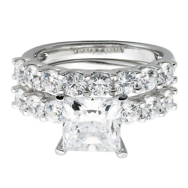 Diamonvita 4 1 4 Ct Tw Simulated Diamond Ring Set In Sterling Silver 2276027 Helzberg D Simulated Diamond Rings Engagement Rings Modern Engagement Rings