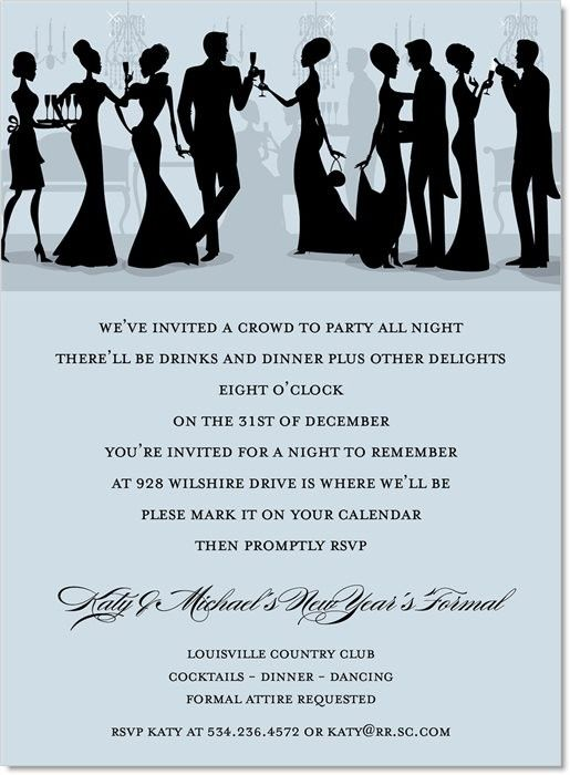 Silhouette new years formal grey invitations holiday party silhouette new years formal grey invitation newyearseve holiday party invitation stopboris Images