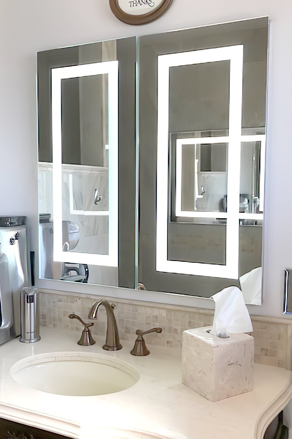 Lighted Twin Door Led Bathroom Mirror Medicine Cabinet 32 Wide X 32 Tall Flush Mounted 6 000 In 2021 Led Mirror Bathroom Bathroom Mirror Medicine Cabinet Mirror