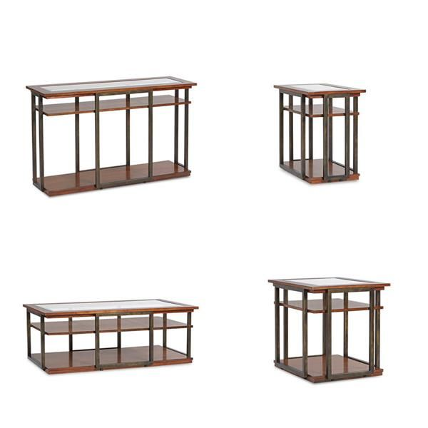 Skylines Contemporary Cherry Wood Metal Glass Coffee Table Set