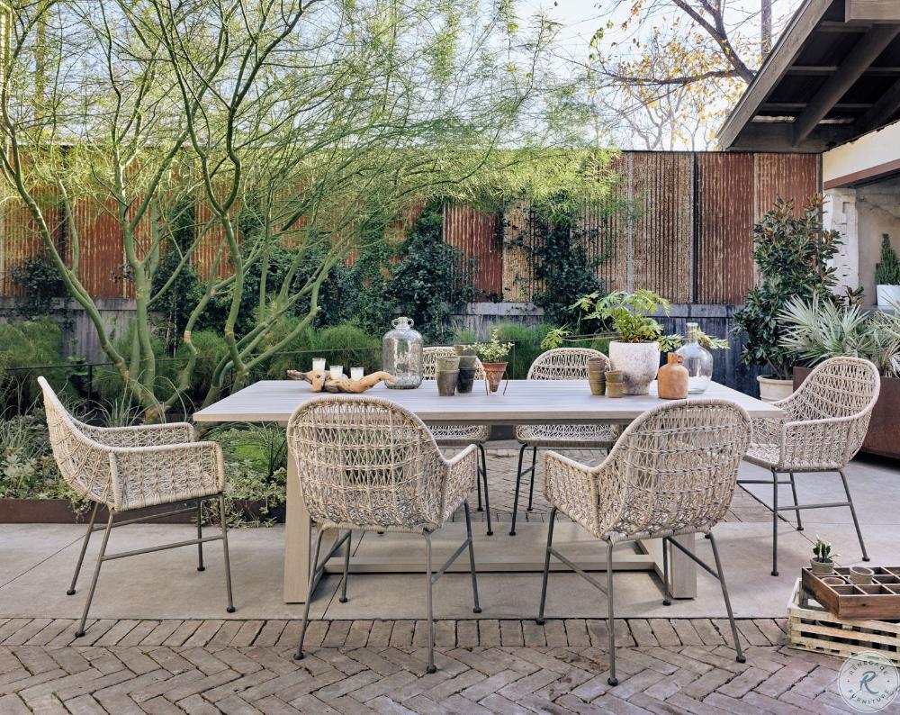 Beachcroft Beige Rectangular Outdoor Dining Set in 2020 ... on Beachcroft Beige Outdoor Living Room Set id=16514