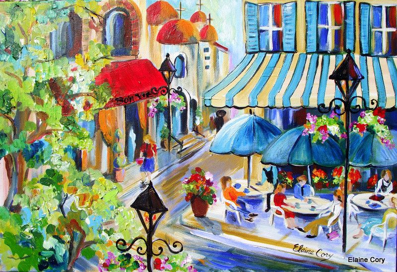 Italy Cafe Street Scene Large Original Painting