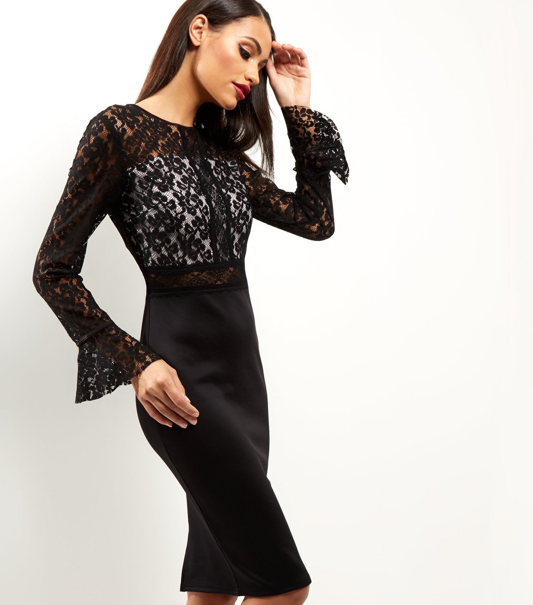 Long sleeve dresses to wear to a wedding  AX Paris Black Lace Long Sleeve Midi Dress  New Look  My style