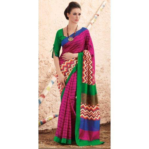 Buy Online Latest Pink Color New Printed Saree- Online Saree Shopping at Surat Sarees