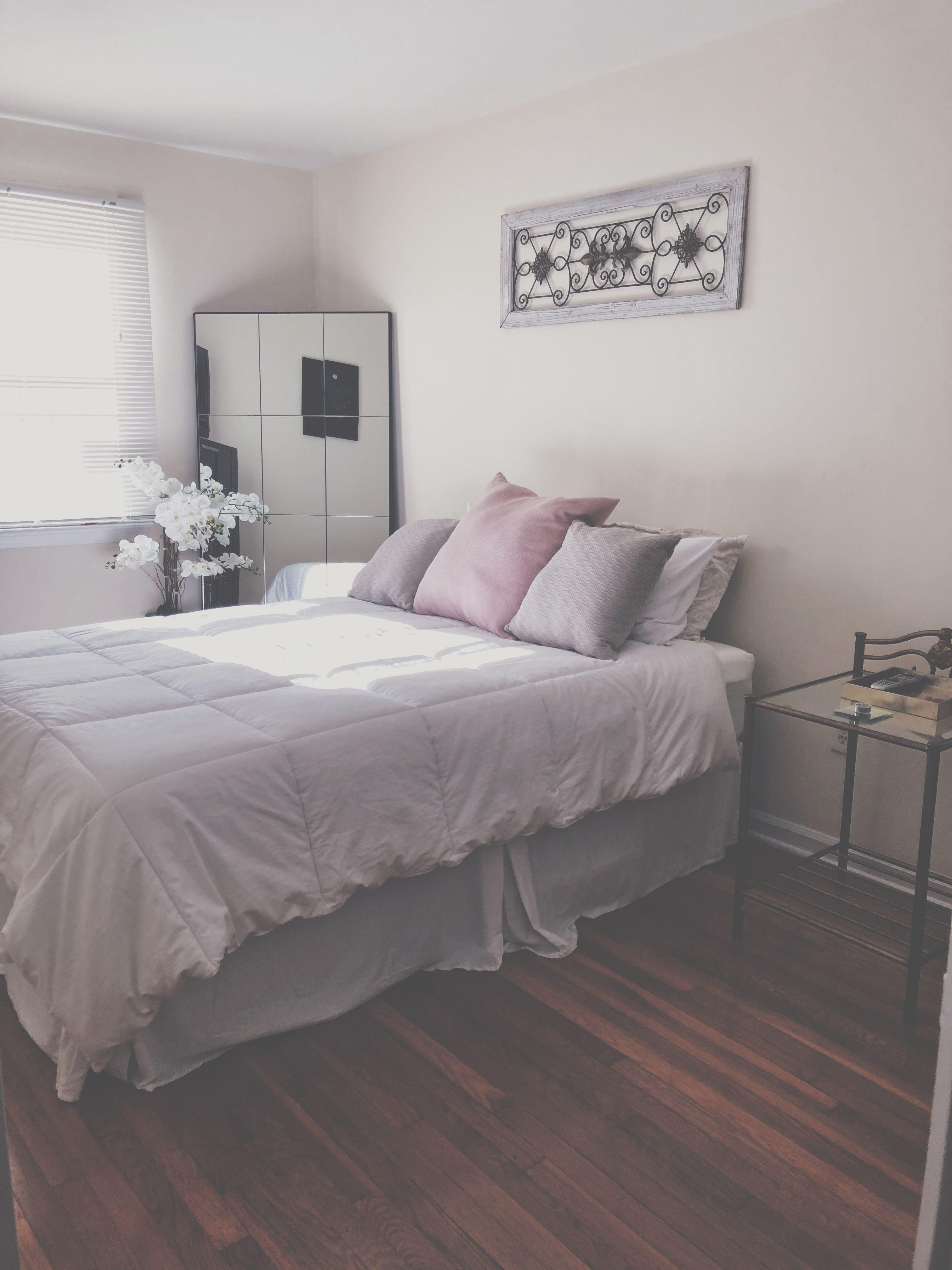 white grey and blush bedroom  floor mirror in bedroom