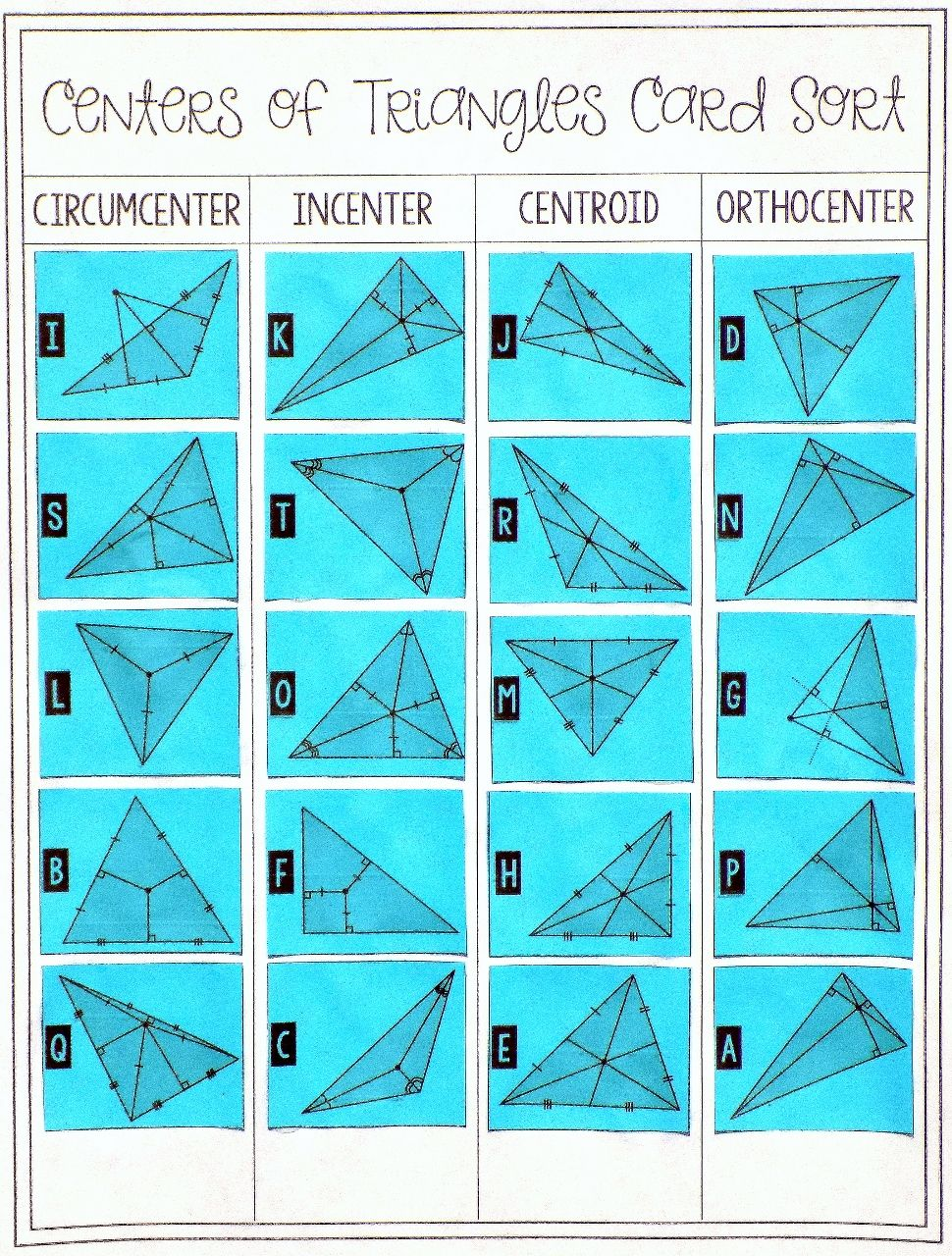 centers of triangles card sort geometry worksheets. Black Bedroom Furniture Sets. Home Design Ideas