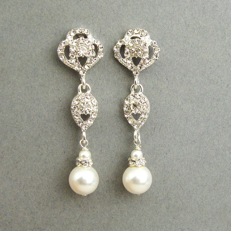 Vintage pearl drop gold earrings bocheron pearl earrings gold - Swarovski Crystal And Pearl Bridal Earrings Vintage Style Rhinestone Pearl Wedding Dangle Earrings Old