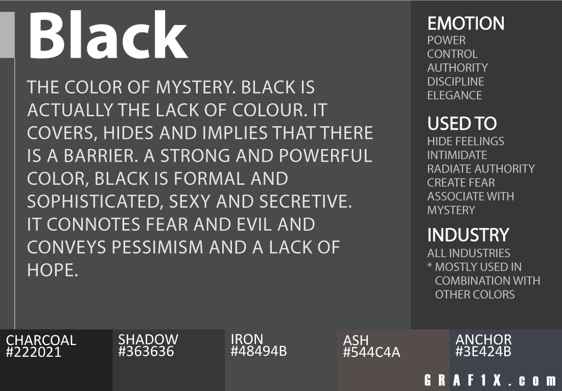 Color Meaning And Psychology Of Red Blue Green Yellow Orange Pink And Violet Colors Graf1x Com Color Psychology Color Meanings Black Color Meaning