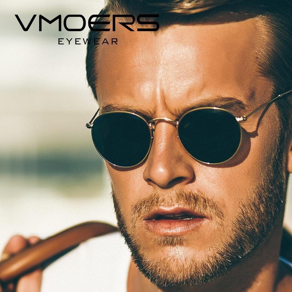 b2355e346e VMOERS Retro Small Round Sunglasses Men Vintage Brand Shades Male Black  Metal Sun Glasses For Men 2018 Fashion Designer Lunette