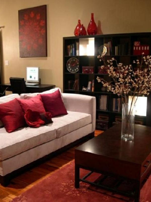 Wohnzimmer Gestalten   Ochra Farbe Und Rote Elemente   Wohnzimmer Streichen  U2013 106 Inspirierende Ideen
