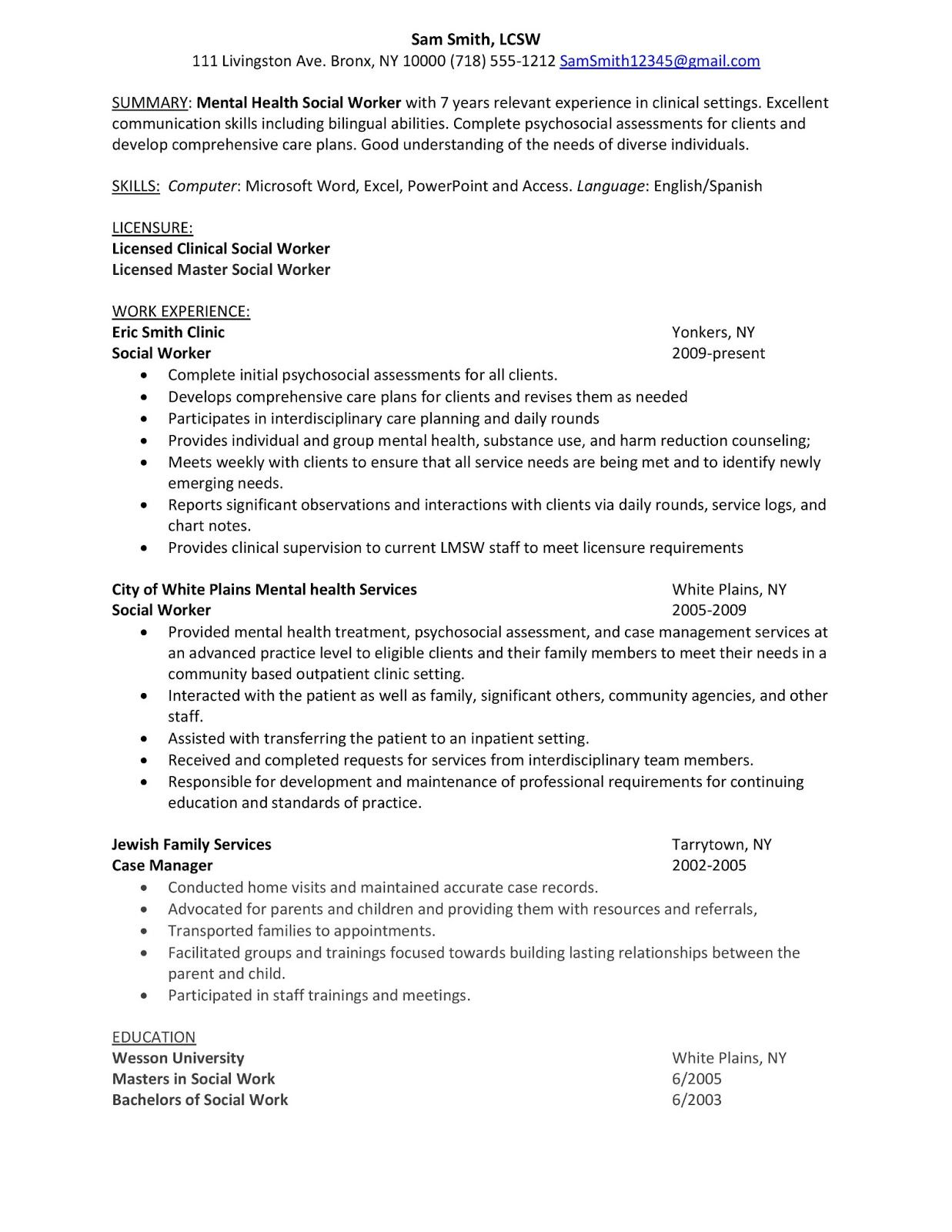 mental health case worker resume