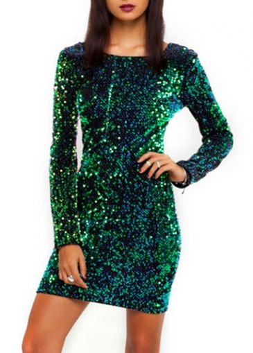 Spotlight Cutout Back Long Sleeve Green Mini Dress