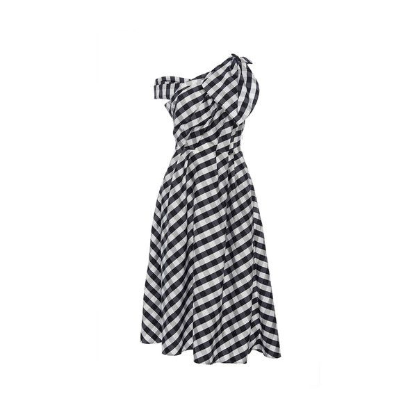 Carolina Herrera     Checkered A Line Dress (7.795 BRL) ❤ liked on Polyvore featuring dresses, a line wrap dress, wrap style dress, bow dress, checkered dress and checked dress