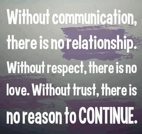 Without Communication, There Is No Relationship. Without Respect, There Is  No Love. Without Trust, There Is No Reason To Continue ~ God Is Heart