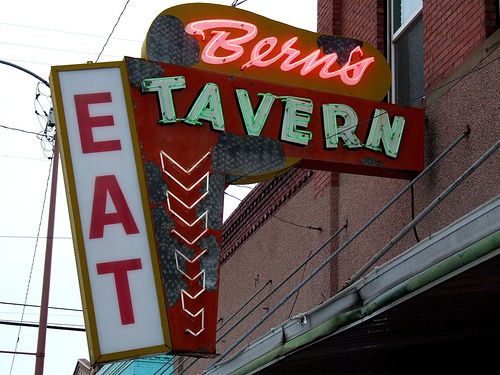 vintage neon signs at night | Bern's Tavern -- neon sign signs vintage old bar signage light night ...