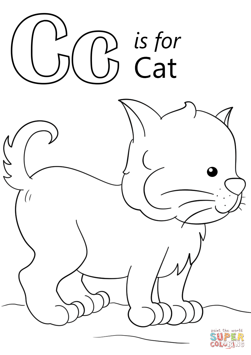 Letter C is for Cat coloring page from Letter C category. Select