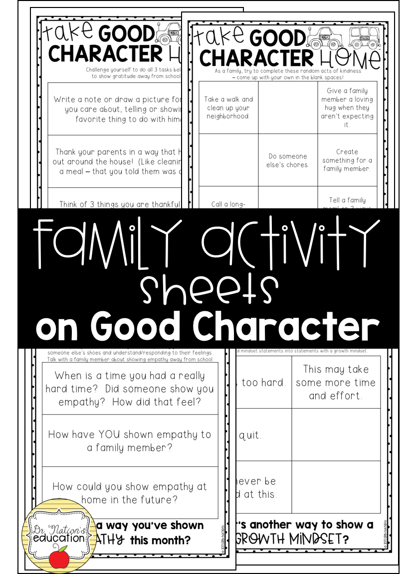 Family Activity Sheets on Character Education | Cognitive Behavioral ...
