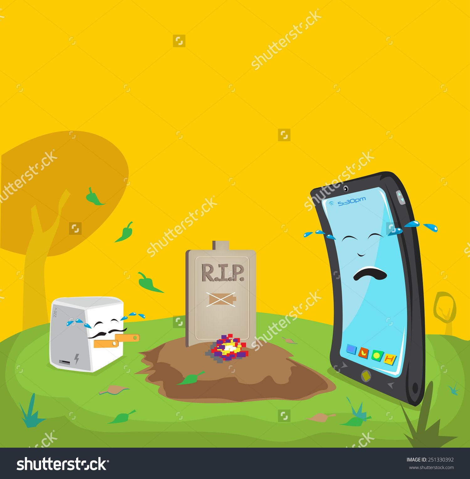 Mobile Phone Batteries Adelaide Stock Vector Dead Battery Cartoon Comical Concept Mobile