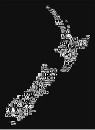 Nz word map canvas print