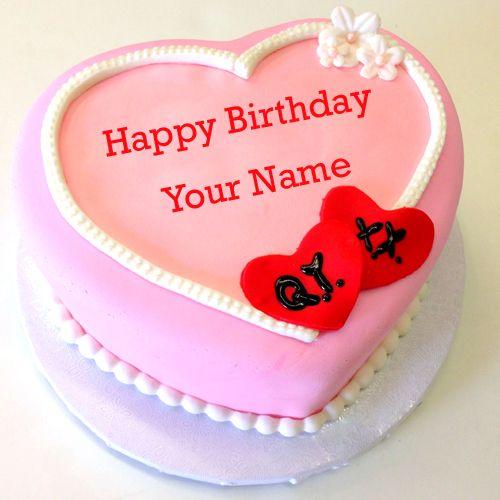 Write Name on Pink Heart Birthday Cake For GirlfriendLove