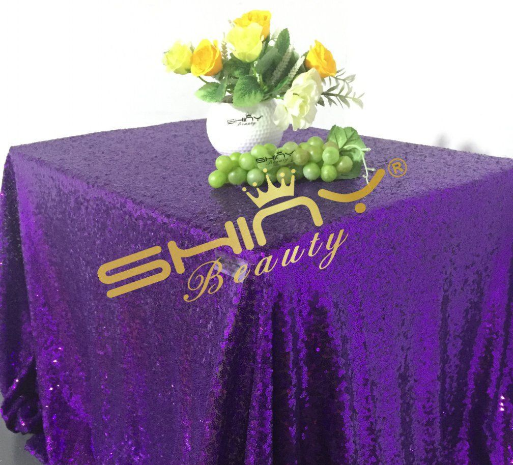 Shinybeauty 60x102inch Sequin Tablecloth Purple Sequin Rectangular