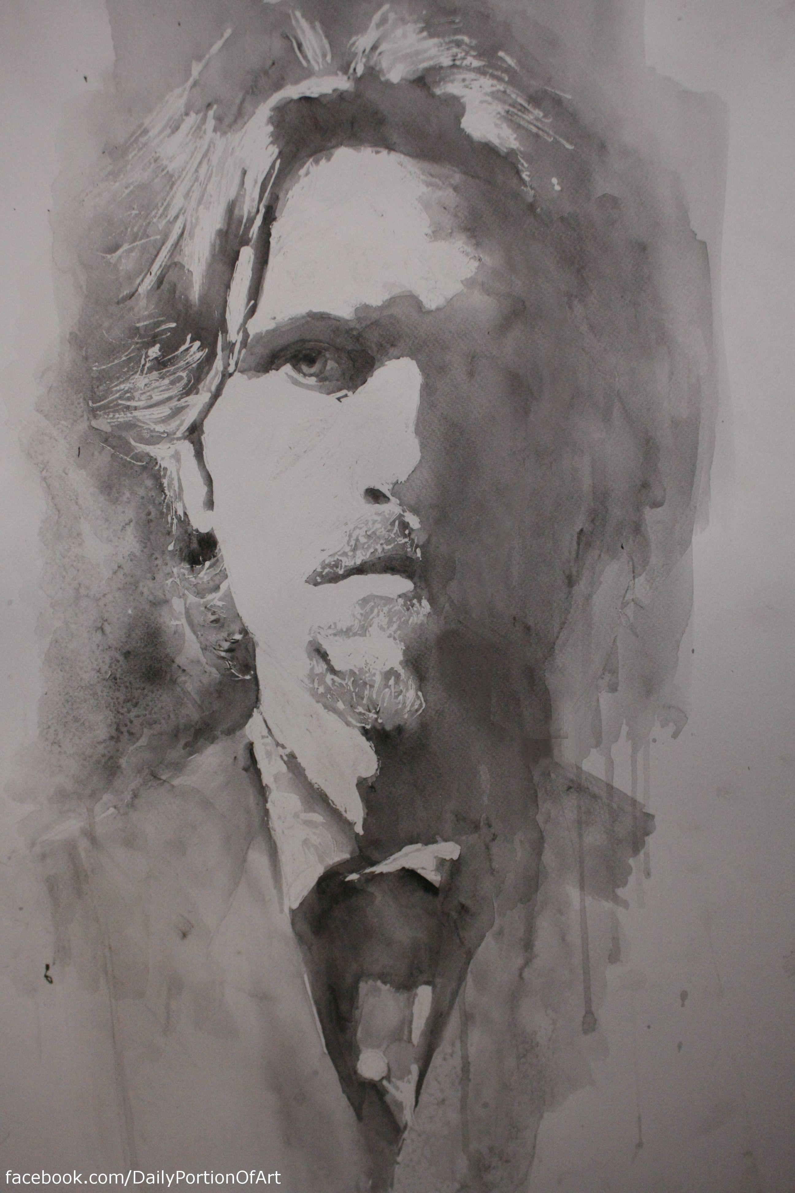 Facebook com dailyportionofart watercolor watercolors black white portrait