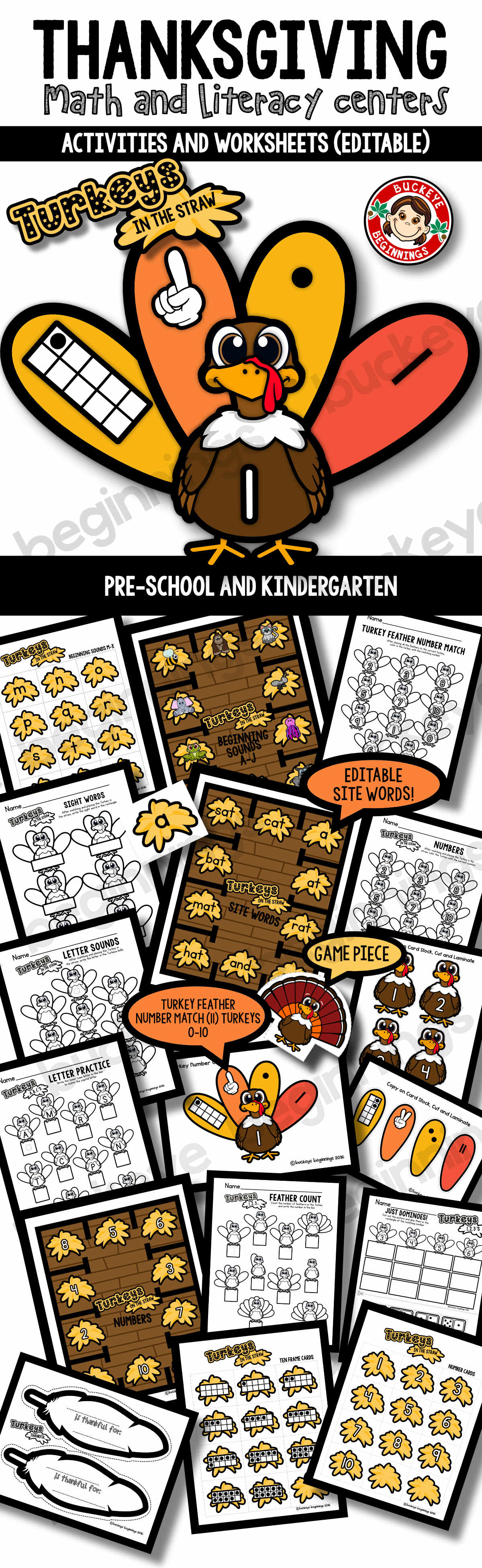 Thanksgiving Math And Literacy Centers Editable Plus