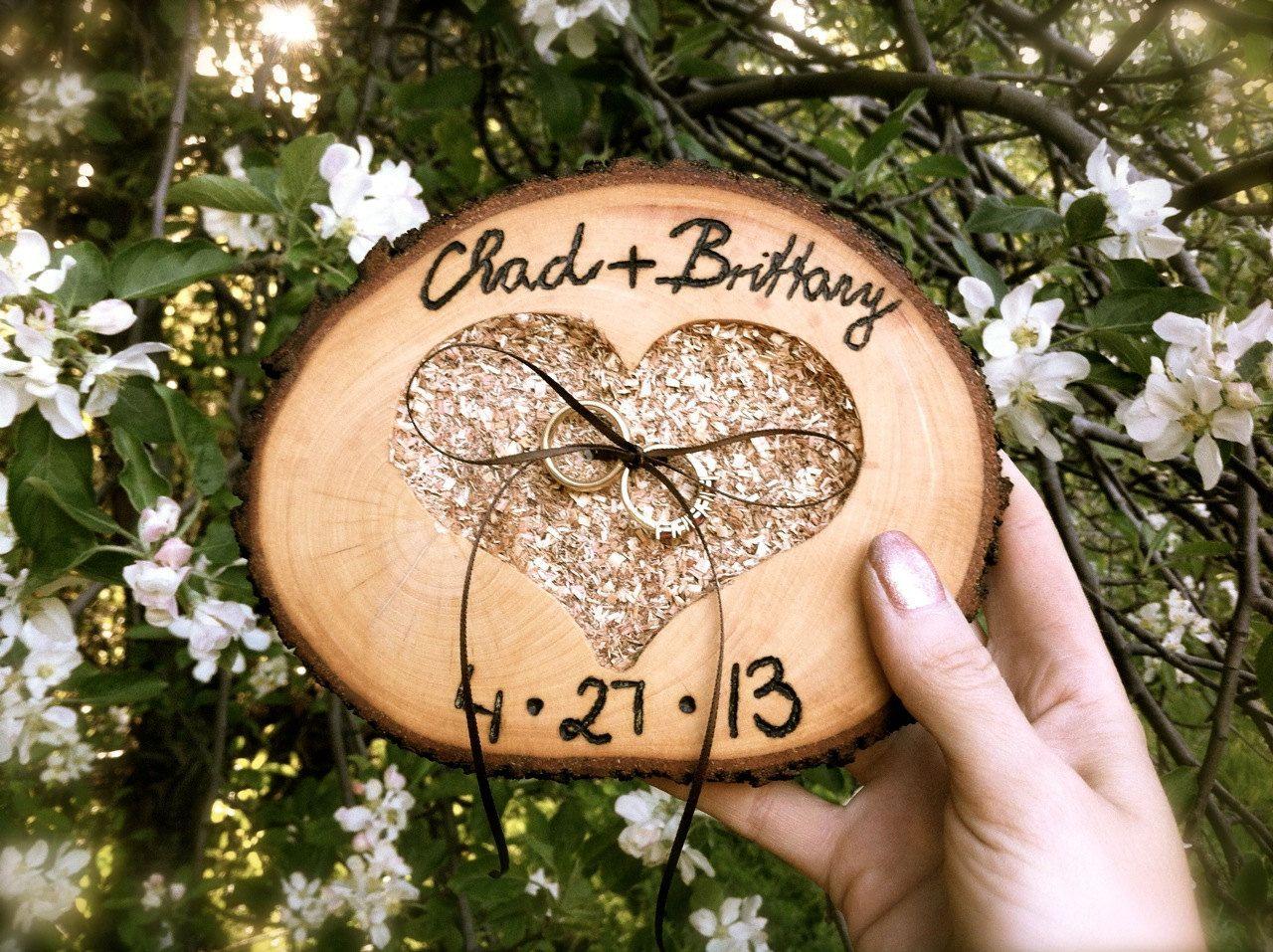 Alternative Ring Bearer Pillow  Wooden Wedding Ring Bearer Personalized Wedding  Ring Holder Heart Ring Bearer Pillow  Wedding Gift