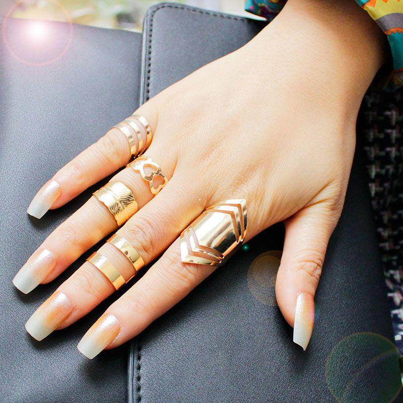 F&U Zinc Alloy 18K Gold Plated Ring Set for 5pcs Fashion Girls ...