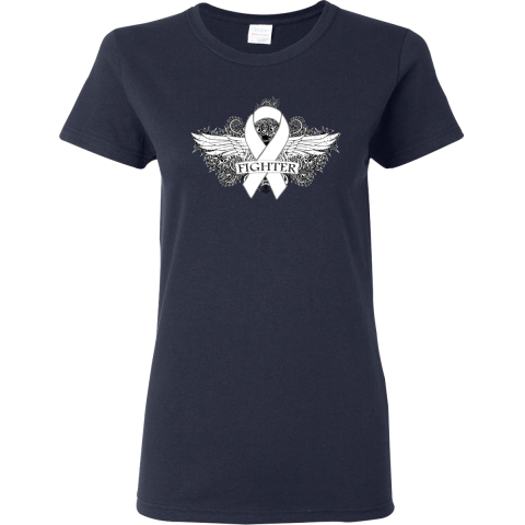 Show you fight strong with SCID Fighter Wings T-Shirt featuring a cool grunge tattoo style wings on a scroll backdrop with an awareness ribbon  #SCIDAwareness