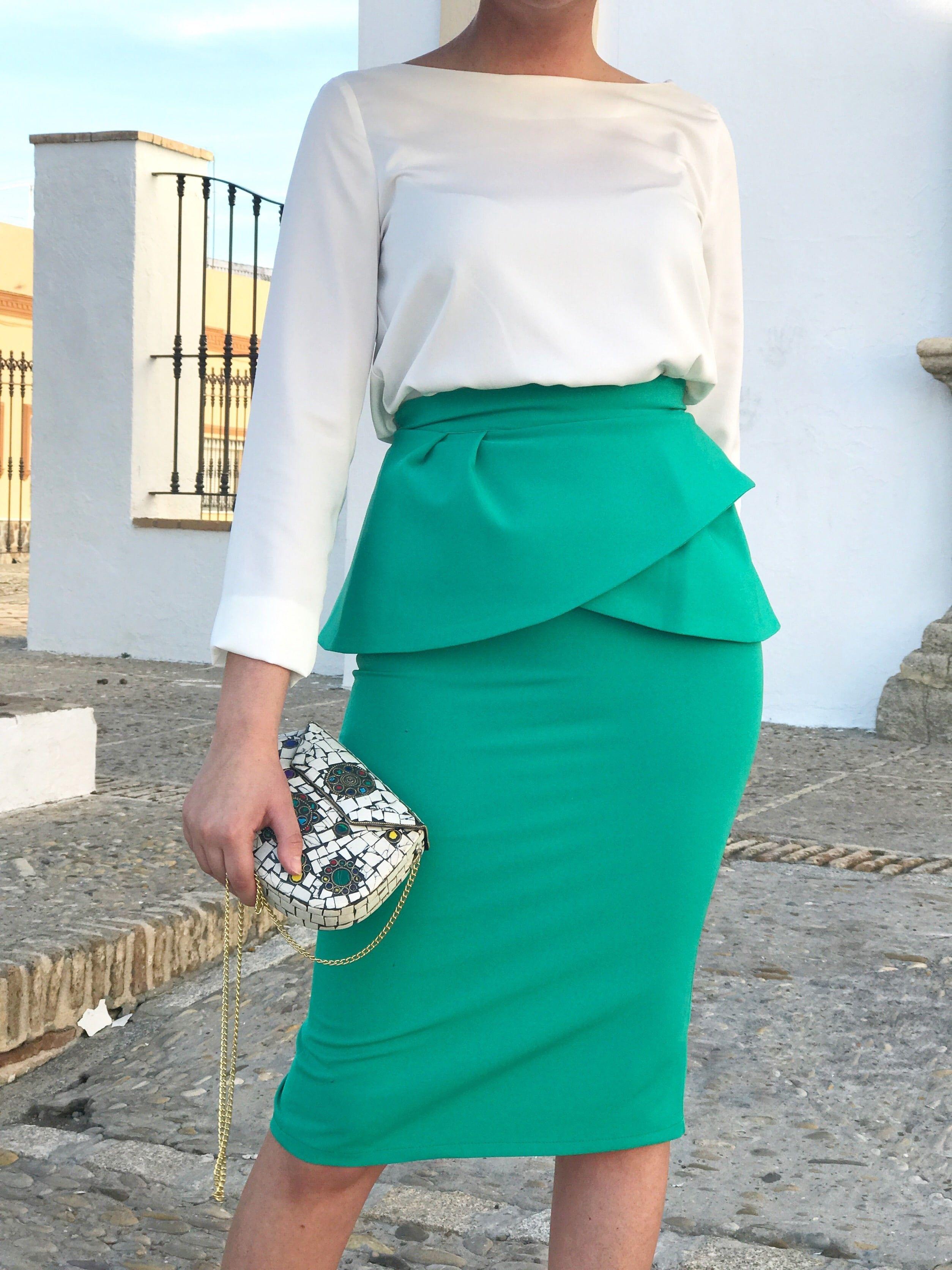 Falda Peplum By Mariquita Trasquilá. Invitada perfecta | Faldas de ...
