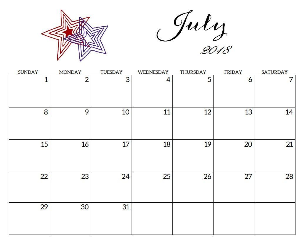 july 2018 editable calendar excel maxcalendars pinterest blank