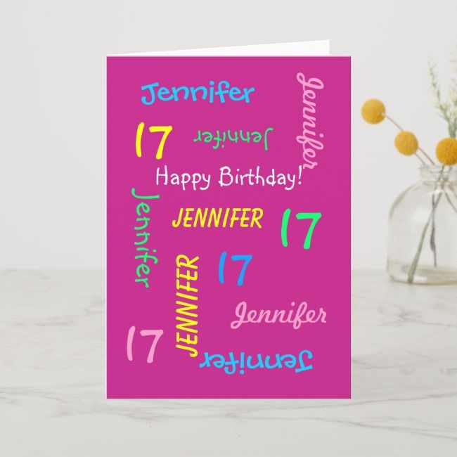 Personalized 17th Birthday Greeting Card, Hot Pink Card | Zazzle.com #17thbirthday