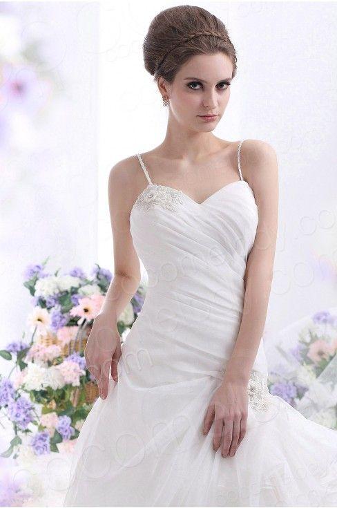 A Line Spaghetti Strap Dropped Waist Court Train Organza Wedding Dress CWLT130C1  #WeddingDress #Cocomelody