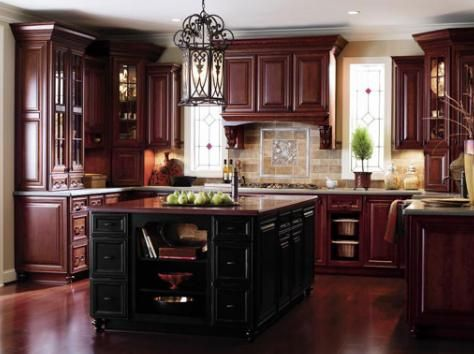 sleek and sophisticated cherry kitchen kitchen cabinets ideas kitchen design cherry cabinets kitchen design cherry cabinets - Cherry Cabinet Kitchen Designs