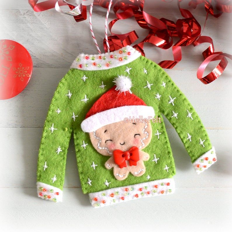 Christmas Ornaments PDF PATTERN: Ugly Christmas Sweater. Felt Christmas Ornaments pattern. Tree ornaments. HelloFelt.