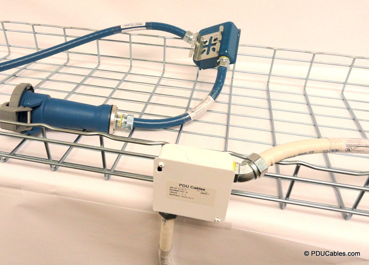 Pdu Whip Basket Tray Drop Configuration With Junction Box And C50 Mounting Bracket Data Center Mounting Cables
