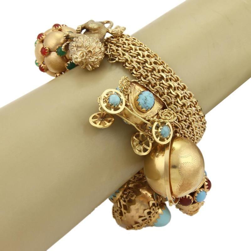 Vintage 18k Yellow Gold Multi-Gemstones Large Charm Sputnik Dimensional  Bracelet