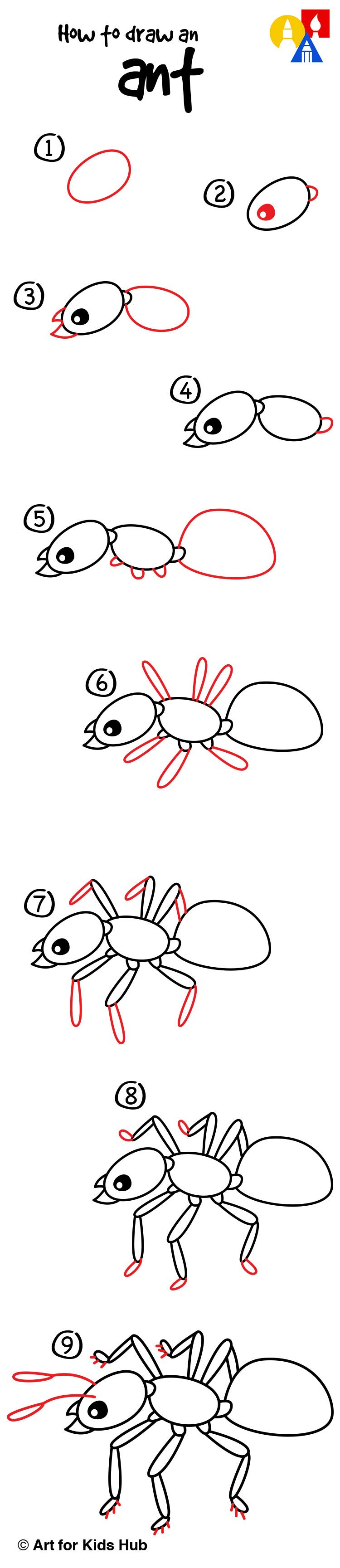 Uncategorized Drawing Of An Ant how to draw an ant art for kids hub and drawings hub