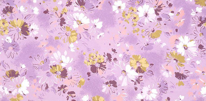 植物イラスト 薄紫と白と桃色の花柄パターン