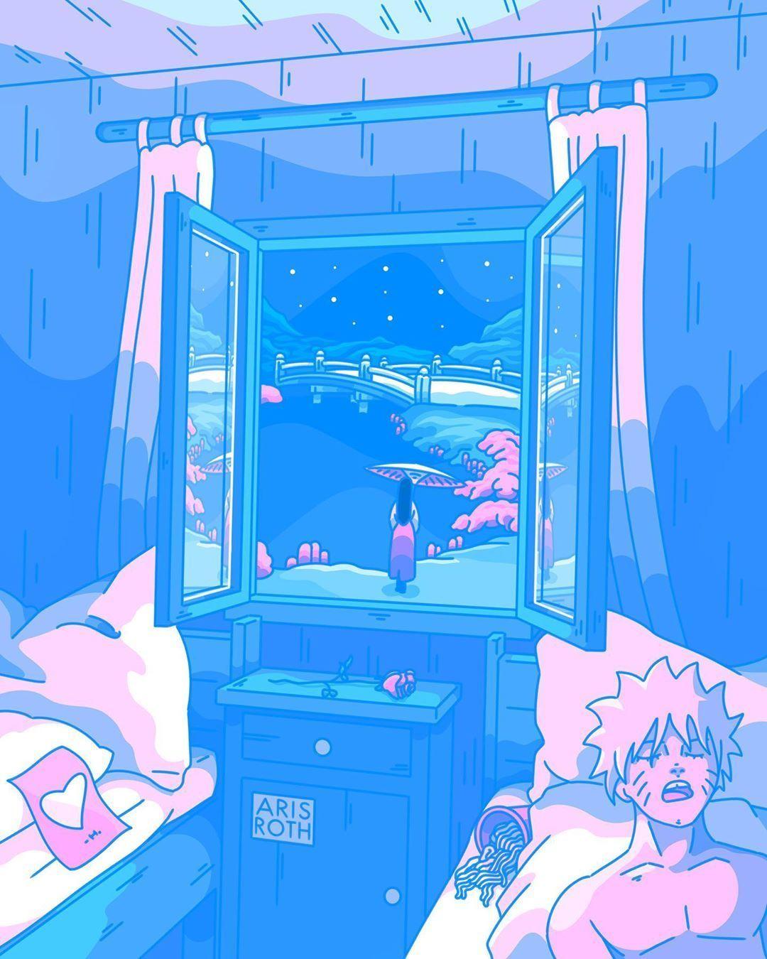 Digital Artist Aris Roth Digital Art Artwoonz In 2020 Blue Anime Blue Aesthetic Pastel Anime Wall Art