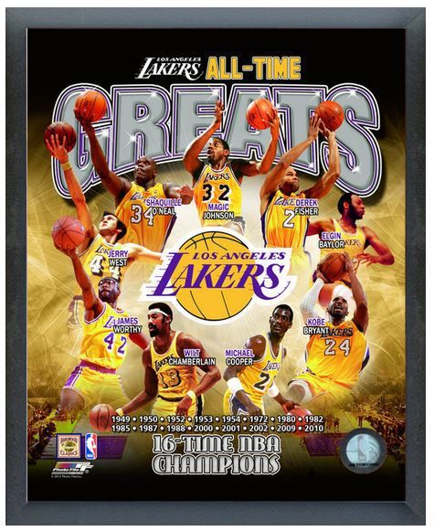 Los Angeles Lakers All Time Greats 11 X 14 Photo In A Glassless Sports Frame Los Angeles Lakers Kobe Bryant Poster Lakers