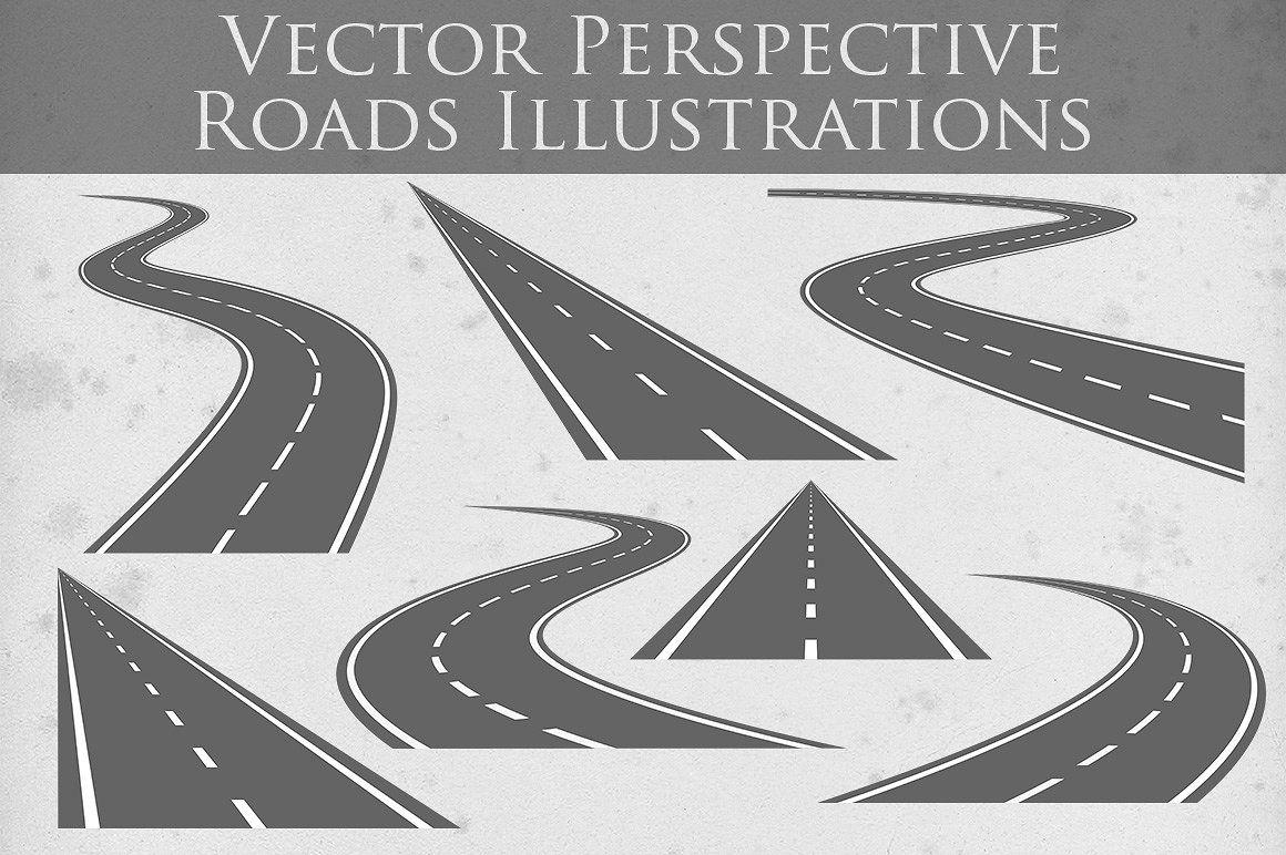 Vector Roads Illustrations Дизайн интерфейса, Рисовать