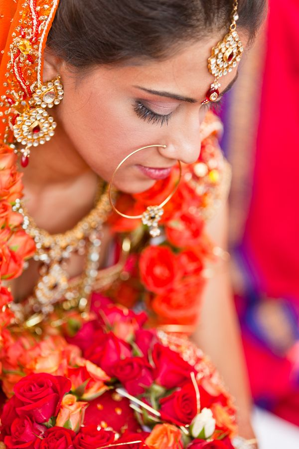 Love the bride\'s traditional jewelry and big nose ring\