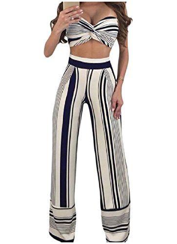 abeb8323817f Abetteric Women Tube Striped Crop Tops and Wide Leg Pants Set Jumpsuits