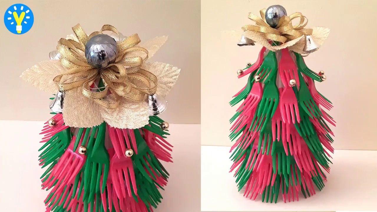 DIY Christmas Decorations Waste Plastic Fork फेंकने से