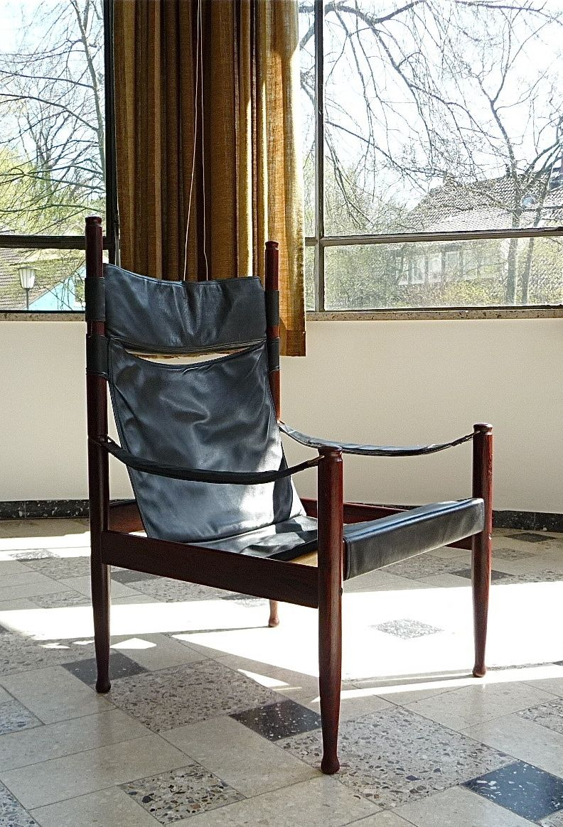 Erik Wørts; Rosewood And Leather Safari Chair For N. Eilersen, 1960s.